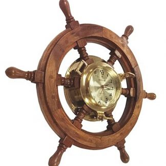 Shipworks Wood Ship Wheel Quartz Wall Clock