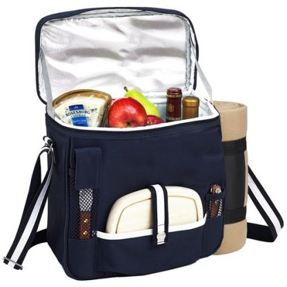 Picnic at Ascot 527X-BLB Wine Cheese Cooler Tote with Blanket