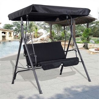 Outdoor Patio Loveseat Canopy Swing Black