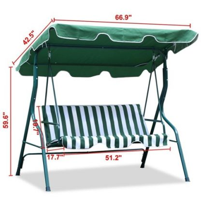 3 Person Patio Canopy Swing Green and White Dimensions