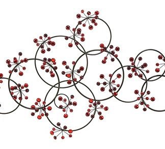Metal Circles Red Acrylic Beads Wall Art Decor