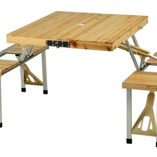 Folding Wood Picnic Table with Built-in Seats