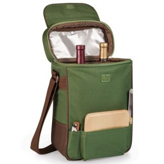 Duet Two Bottle Wine Cheese Tote Pine Green
